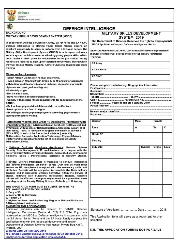 Defence Intelligence Application Forms 2016 pdf